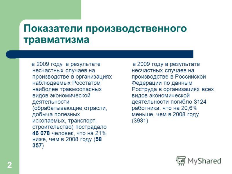 2 Показатели производственного травматизма в 2009 году в результате несчастных случаев на производстве в организациях наблюдаемых Росстатом наиболее травмоопасных видов экономической деятельности (обрабатывающие отрасли, добыча полезных ископаемых, т