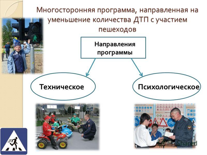 Многосторонняя программа, направленная на уменьшение количества ДТП с участием пешеходов Техническое Психологическое Направления программы