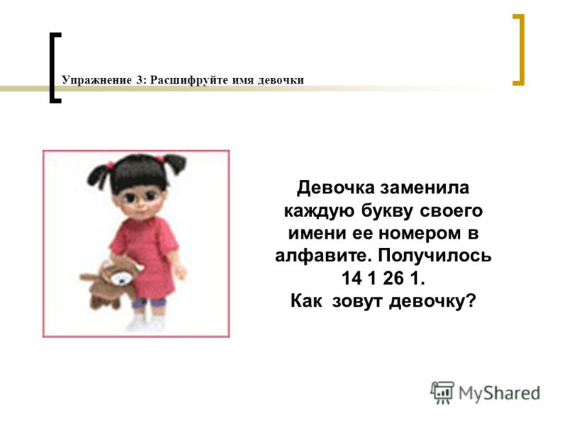 Упражнение 3: Расшифруйте имя девочки Девочка заменила каждую букву своего имени ее номером в алфавите. Получилось 14 1 26 1. Как зовут девочку?