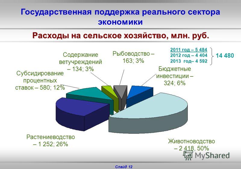 Слайд 11 Государственная поддержка реального сектора экономики 2011 г. – 11 045 2012 г. – 4 153 2013 г. – 4 155 19 353 4 367 230 728 120 - субсидии на государственную поддержку животноводства и растениеводства - предоставление нефтегазовым компаниям