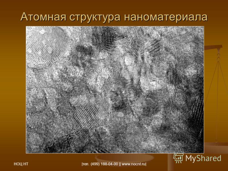 НОЦ НТ |тел. (499) 188-04-00 || www.nocnt.ru| Атомная структура наноматериала