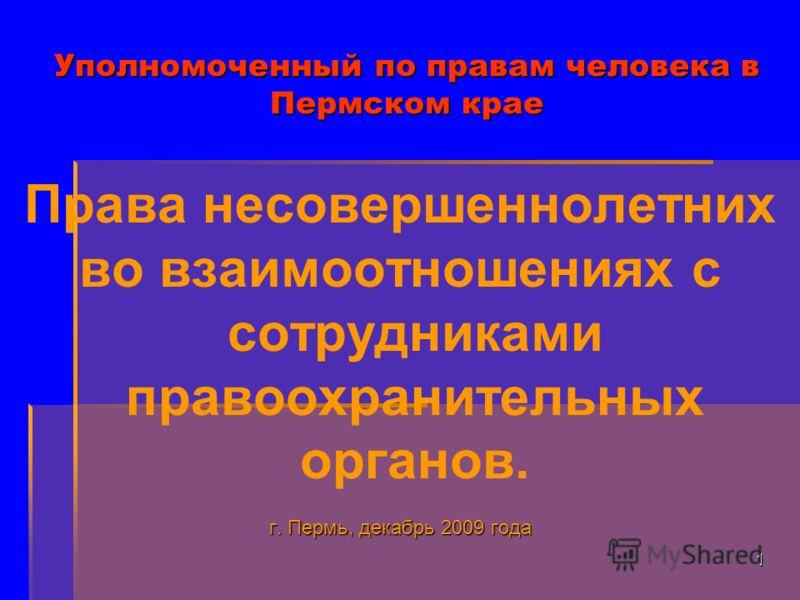 1 Уполномоченный по правам человека в Пермском крае Права несовершеннолетних во взаимоотношениях с сотрудниками правоохранительных органов. г. Пермь, декабрь 2009 года