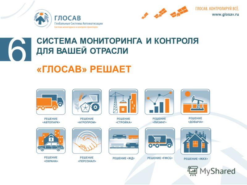 СИСТЕМА МОНИТОРИНГА И КОНТРОЛЯ ДЛЯ ВАШЕЙ ОТРАСЛИ «ГЛОСАВ» РЕШАЕТ www.glosav.ru 6