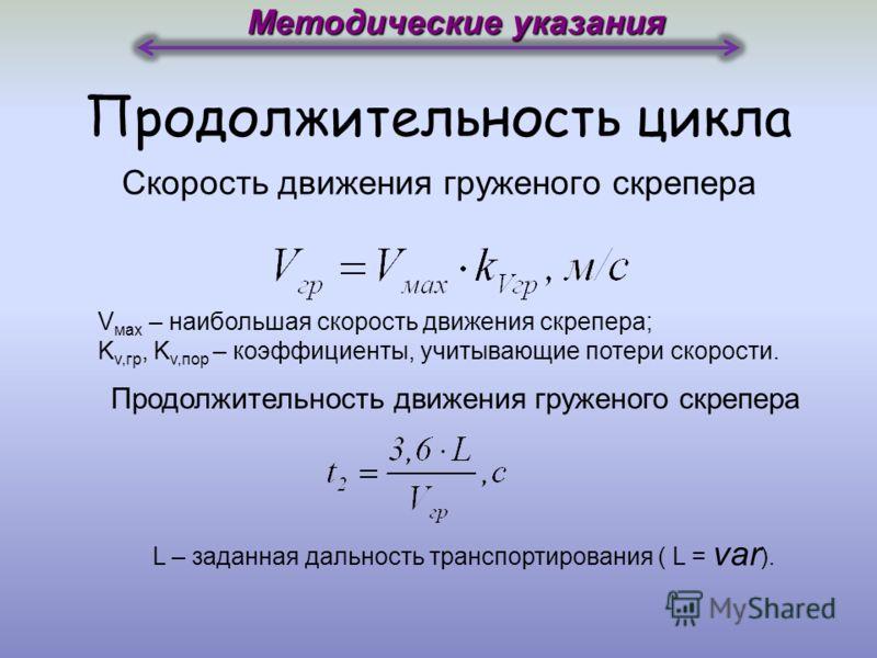 Продолжительность цикла Методические указания Время, затрачиваемое на набор грунта V наб – скорость набора грунта в ковш.