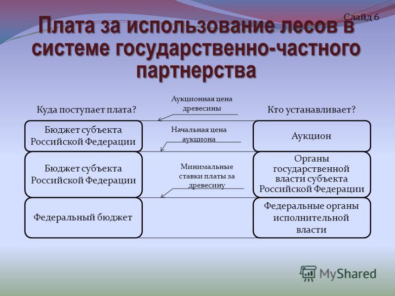 Плата за использование лесов в системе государственно-частного партнерства Слайд 6 Бюджет субъекта Российской Федерации Аукцион Бюджет субъекта Российской Федерации Федеральный бюджет Органы государственной власти субъекта Российской Федерации Федера