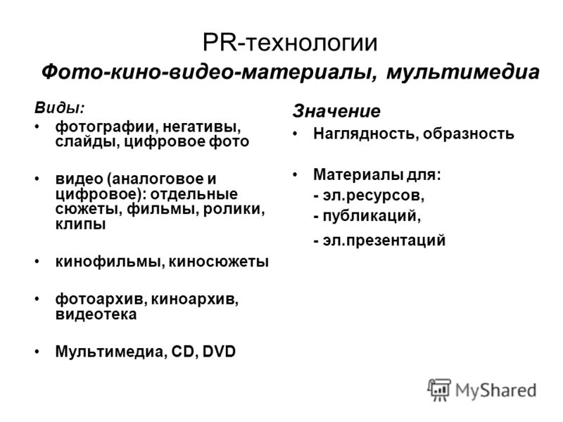 PR-технологии Фото-кино-видео-материалы, мультимедиа Виды: фотографии, негативы, слайды, цифровое фото видео (аналоговое и цифровое): отдельные сюжеты