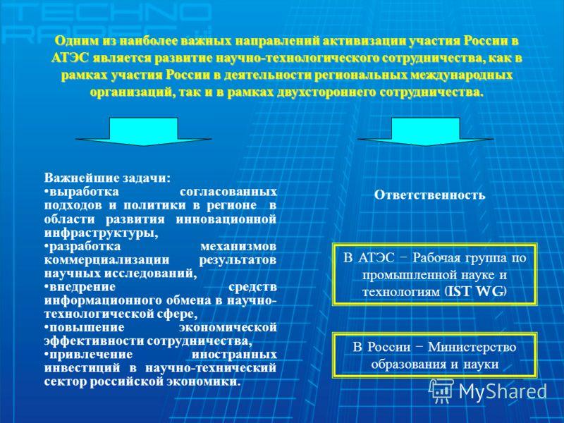 Одним из наиболее важных направлений активизации участия России в АТЭС является развитие научно-технологического сотрудничества, как в рамках участия России в деятельности региональных международных организаций, так и в рамках двухстороннего сотрудни
