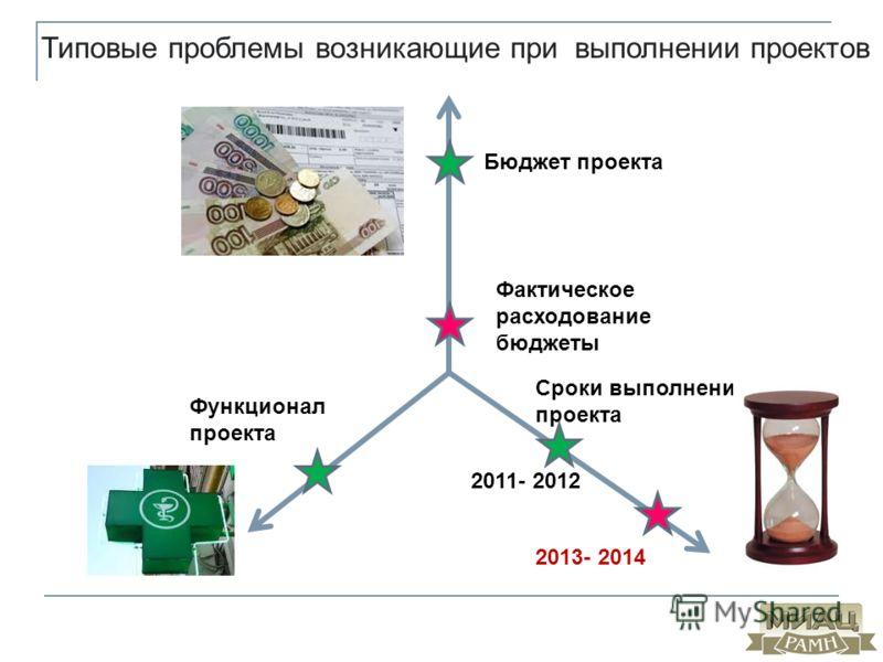 Типовые проблемы возникающие при выполнении проектов Бюджет проекта Сроки выполнения проекта Функционал проекта 2011- 2012 2013- 2014 Фактическое расходование бюджеты
