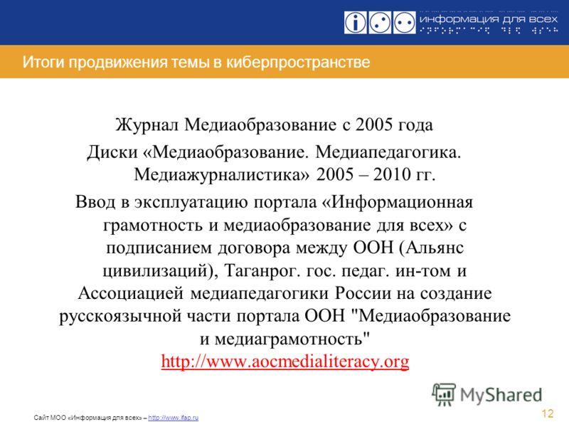 Сайт МОО «Информация для всех» – http://www.ifap.ru 12 Итоги продвижения темы в киберпространстве Журнал Медиаобразование с 2005 года Диски «Медиаобразование. Медиапедагогика. Медиажурналистика» 2005 – 2010 гг. Ввод в эксплуатацию портала «Информацио