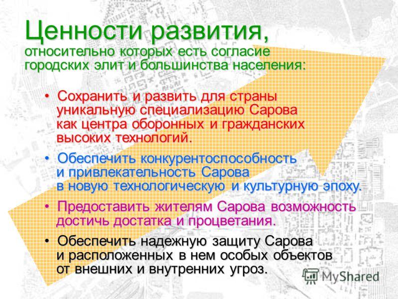 Ценности развития, относительно которых есть согласие городских элит и большинства населения: Сохранить и развить для страны уникальную специализацию Сарова как центра оборонных и гражданских высоких технологий. Сохранить и развить для страны уникаль