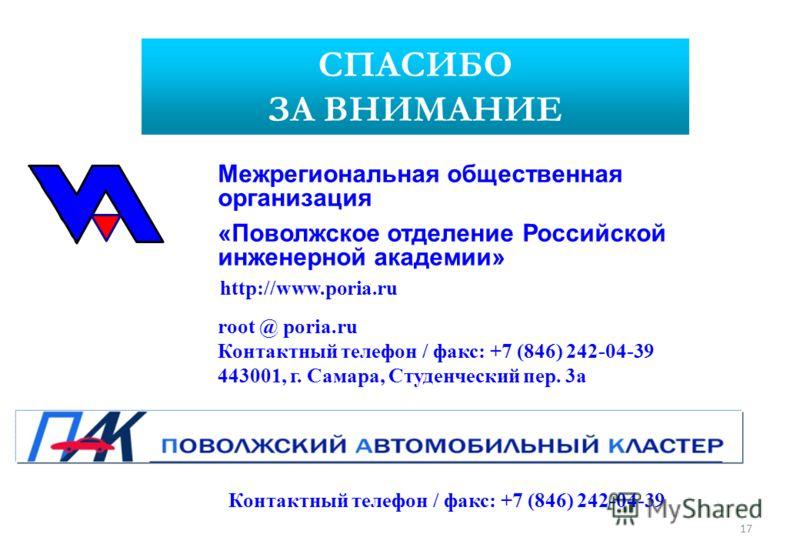 СПАСИБО ЗА ВНИМАНИЕ http://www.poria.ru root @ poria.ru Контактный телефон / факс: +7 (846) 242-04-39 443001, г. Самара, Студенческий пер. 3а Межрегиональная общественная организация «Поволжское отделение Российской инженерной академии» 17 Контактный