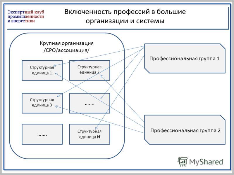 Включенность профессий в большие организации и системы Крупная организация /СРО/ассоциация/ Структурная единица 2 Профессиональная группа 1 Структурная единица 1 ……. Структурная единица 3 ……. Структурная единица N Профессиональная группа 2