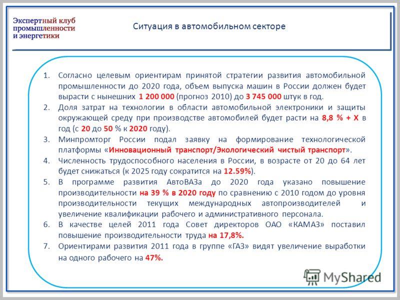1.Согласно целевым ориентирам принятой стратегии развития автомобильной промышленности до 2020 года, объем выпуска машин в России должен будет вырасти с нынешних 1 200 000 (прогноз 2010) до 3 745 000 штук в год. 2.Доля затрат на технологии в области