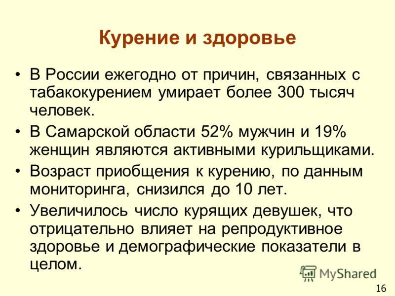 Курение и здоровье В России ежегодно от причин, связанных с табакокурением умирает более 300 тысяч человек. В Самарской области 52% мужчин и 19% женщин являются активными курильщиками. Возраст приобщения к курению, по данным мониторинга, снизился до