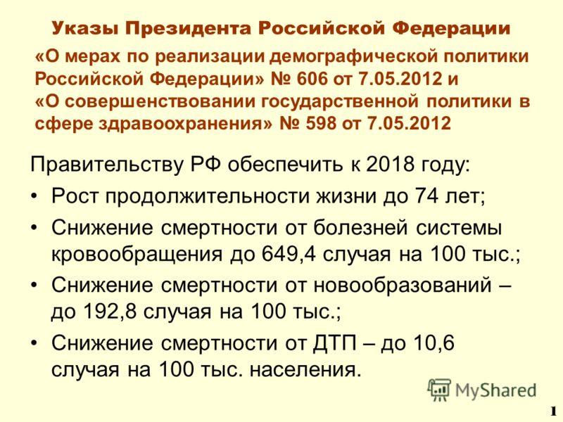 Указы Президента Российской Федерации Правительству РФ обеспечить к 2018 году: Рост продолжительности жизни до 74 лет; Снижение смертности от болезней системы кровообращения до 649,4 случая на 100 тыс.; Снижение смертности от новообразований – до 192