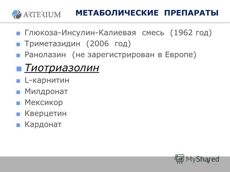 МЕТАБОЛИЧЕСКИЕ ПРЕПАРАТЫ Глюкоза-Инсулин-Калиевая смесь (1962 год) Триметазидин (2006 год) Ранолазин (не зарегистрирован в Европе) Тиотриазолин L-карнитин Милдронат Мексикор Кверцетин Кардонат 4