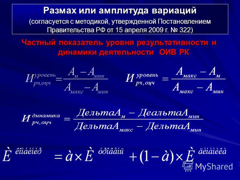 Частный показатель уровня результативности и динамики деятельности ОИВ РК Размах или амплитуда вариаций (согласуется с методикой, утвержденной Постановлением Правительства РФ от 15 апреля 2009 г. 322)
