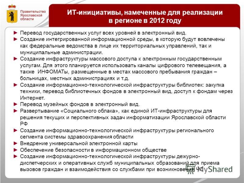 ИТ-инициативы, намеченные для реализации в регионе в 2012 году Перевод государственных услуг всех уровней в электронный вид. Создание интегрированной информационной среды, в которую будут вовлечены как федеральные ведомства в лице их территориальных