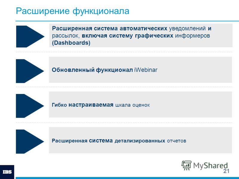 21 Расширение функционала Расширенная система автоматических уведомлений и рассылок, включая систему графических информеров (Dashboards) Обновленный функционал iWebinar Гибко настраиваемая шкала оценок Расширенная система детализированных отчетов