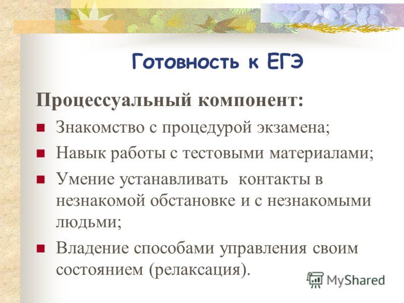 Готовность К ЕГЭ Познавательный компонент : 1. Предметные компетенции (знания по предмету в рамках образовательного стандарта); 2. Общеучебные навыки (учебно-управленческие, учебно – информационные, учебно-логические, коммуникативные); 3. Динамически