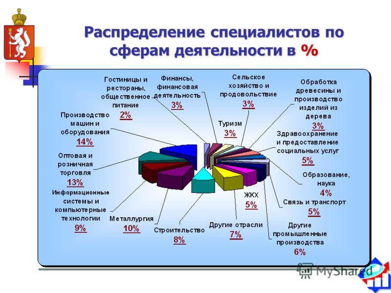 Распределение специалистов по сферам деятельностив % Распределение специалистов по сферам деятельности в %