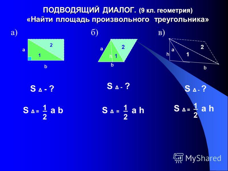 ПОДВОДЯЩИЙ ДИАЛОГ. (9 кл. геометрия) «Найти площадь произвольного треугольника» а) б) в) 1 а b h а b а b S Δ - ? S Δ = a bS Δ = a h 1212 1212 1212 2 h 1 2 1 2