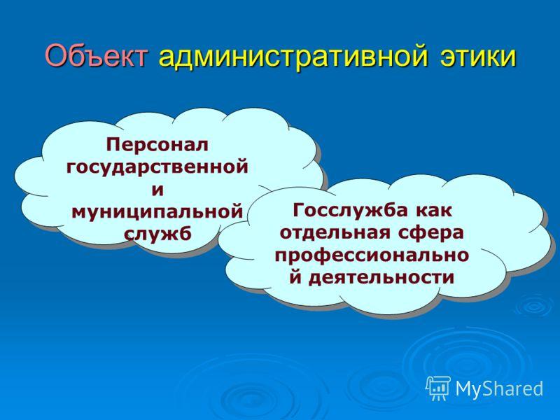 Объект административной этики Персонал государственной и муниципальной служб Персонал государственной и муниципальной служб Госслужба как отдельная сфера профессионально й деятельности