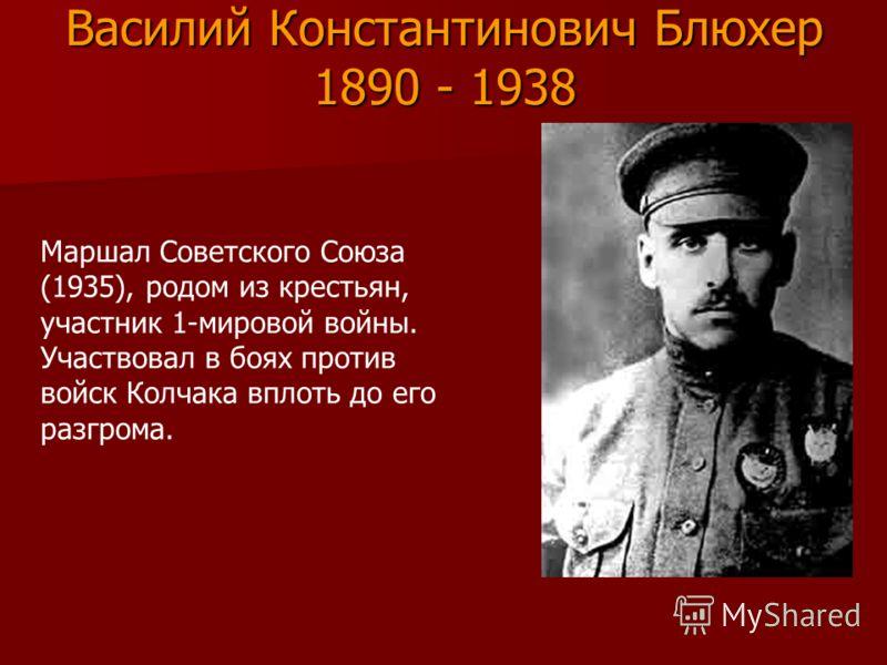 Василий Константинович Блюхер 1890 - 1938 Маршал Советского Союза (1935), родом из крестьян, участник 1-мировой войны. Участвовал в боях против войск Колчака вплоть до его разгрома.