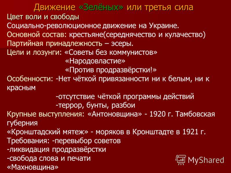 Движение «Зелёных» или третья сила Цвет воли и свободы Социально-революционное движение на Украине. Основной состав: крестьяне(середнячество и кулачество) Партийная принадлежность – эсеры. Цели и лозунги: «Советы без коммунистов» «Народовластие» «Про