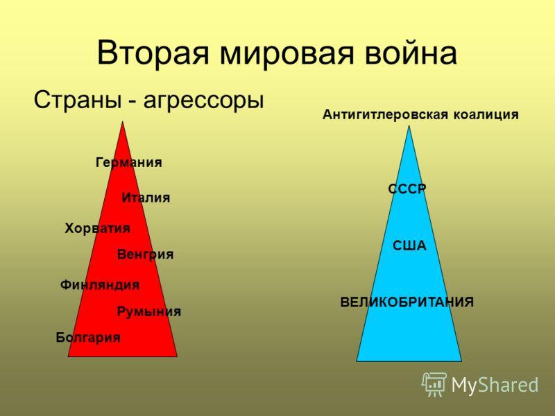 Вторая мировая война Страны - агрессоры Антигитлеровская коалиция СССР США ВЕЛИКОБРИТАНИЯ Германия Италия Венгрия Румыния Болгария Хорватия Финляндия