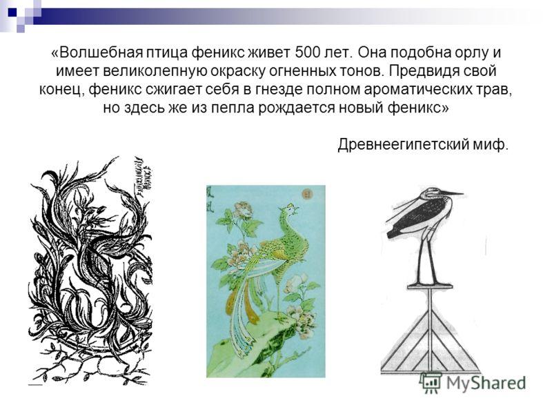 «Волшебная птица феникс живет 500 лет. Она подобна орлу и имеет великолепную окраску огненных тонов. Предвидя свой конец, феникс сжигает себя в гнезде полном ароматических трав, но здесь же из пепла рождается новый феникс» Древнеегипетский миф.