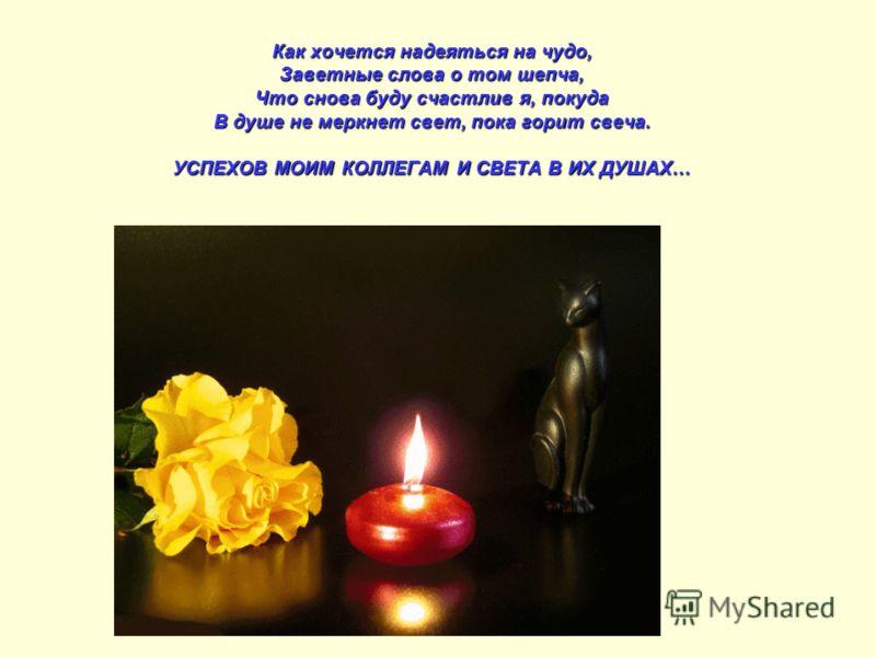Как хочется надеяться на чудо, Заветные слова о том шепча, Что снова буду счастлив я, покуда В душе не меркнет свет, пока горит свеча. УСПЕХОВ МОИМ КОЛЛЕГАМ И СВЕТА В ИХ ДУШАХ…