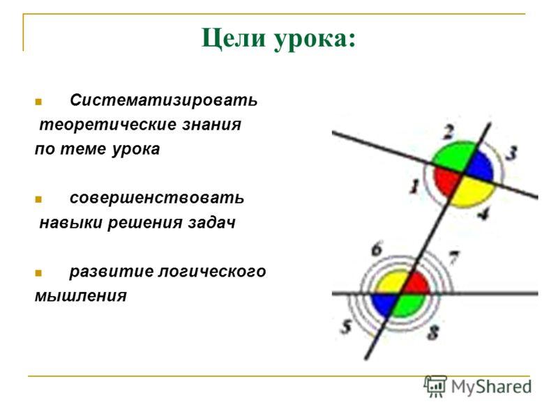 Цели урока: Систематизировать теоретические знания по теме урока совершенствовать навыки решения задач развитие логического мышления
