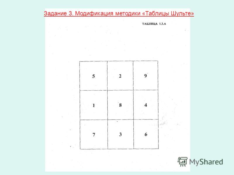 Задание 3. Модификация методики «Таблицы Шульте»