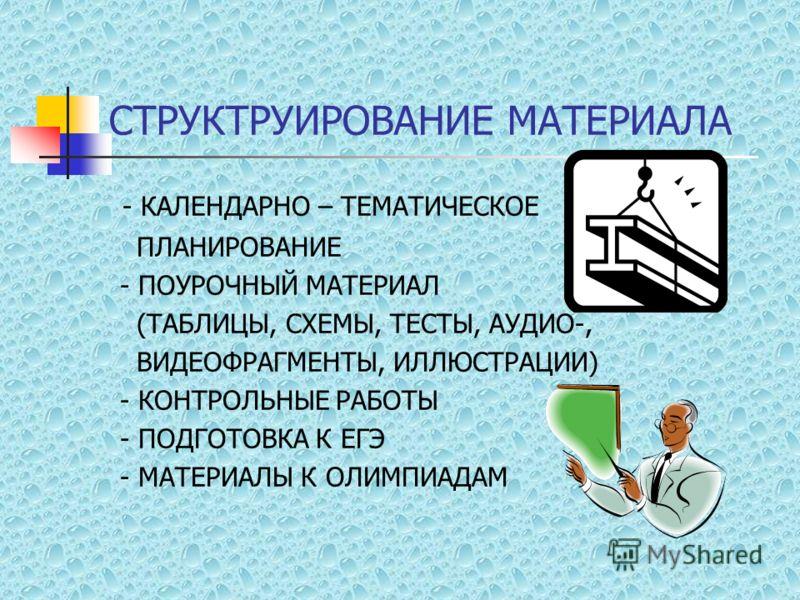 СТРУКТРУИРОВАНИЕ МАТЕРИАЛА - КАЛЕНДАРНО – ТЕМАТИЧЕСКОЕ ПЛАНИРОВАНИЕ - ПОУРОЧНЫЙ МАТЕРИАЛ (ТАБЛИЦЫ, СХЕМЫ, ТЕСТЫ, АУДИО-, ВИДЕОФРАГМЕНТЫ, ИЛЛЮСТРАЦИИ) - КОНТРОЛЬНЫЕ РАБОТЫ - ПОДГОТОВКА К ЕГЭ - МАТЕРИАЛЫ К ОЛИМПИАДАМ
