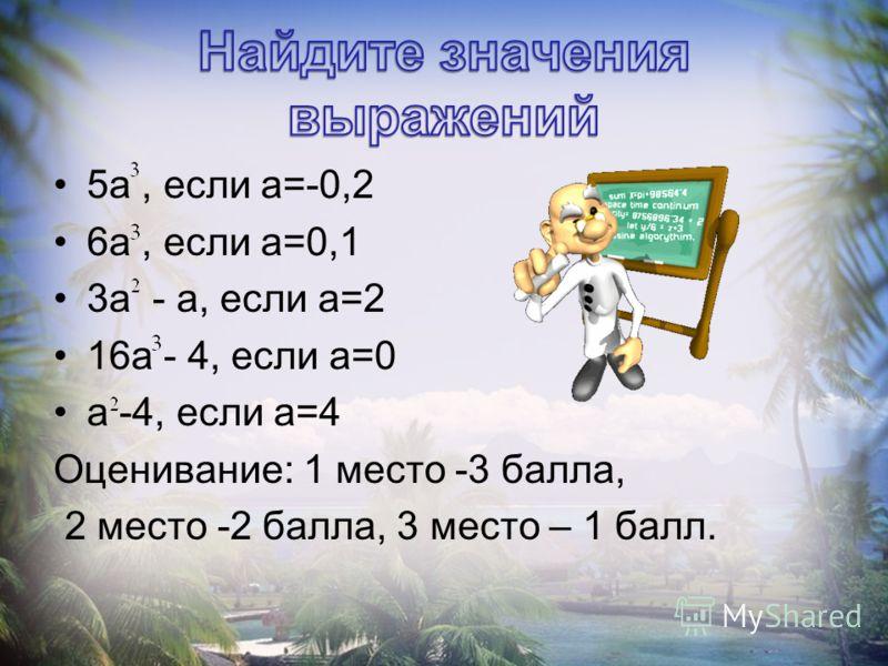 5а, если а=-0,2 6а, если а=0,1 3а - а, если а=2 16а - 4, если а=0 а -4, если а=4 Оценивание: 1 место -3 балла, 2 место -2 балла, 3 место – 1 балл.