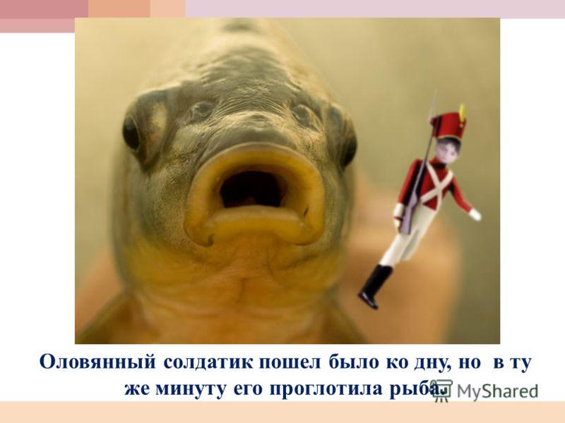 Оловянный солдатик пошел было ко дну, но в ту же минуту его проглотила рыба.