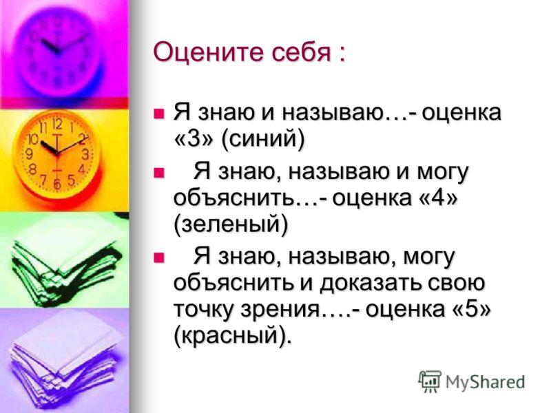 Оцените себя : Я знаю и называю…- оценка «3» (синий) Я знаю и называю…- оценка «3» (синий) Я знаю, называю и могу объяснить…- оценка «4» (зеленый) Я знаю, называю и могу объяснить…- оценка «4» (зеленый) Я знаю, называю, могу объяснить и доказать свою