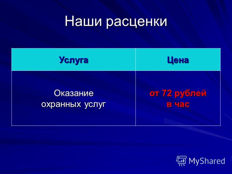 Наши расценки УслугаЦена Оказание охранных услуг от 72 рублей в час