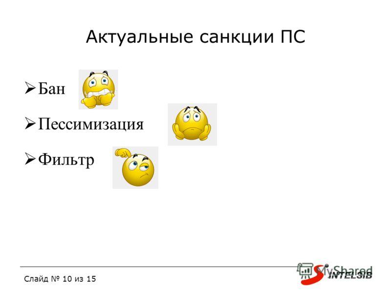 Слайд 10 из 15 Актуальные санкции ПС Бан Пессимизация Фильтр
