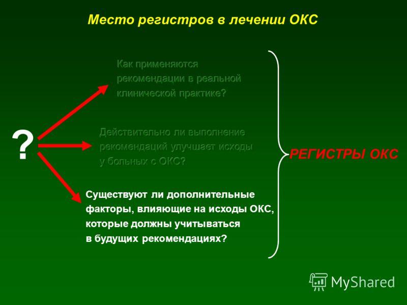 ? Существуют ли дополнительные факторы, влияющие на исходы ОКС, которые должны учитываться в будущих рекомендациях? РЕГИСТРЫ ОКС Место регистров в лечении ОКС
