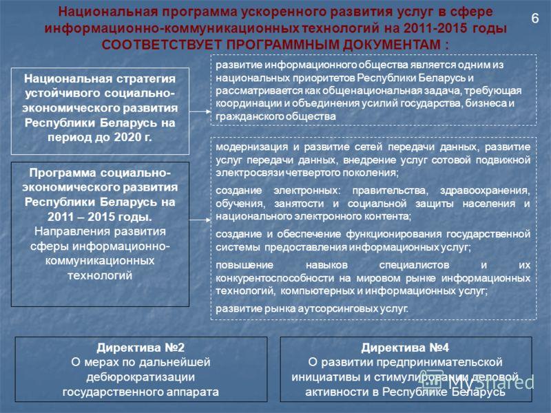 Программа социально- экономического развития Республики Беларусь на 2011 – 2015 годы. Направления развития сферы информационно- коммуникационных технологий Национальная программа ускоренного развития услуг в сфере информационно-коммуникационных техно