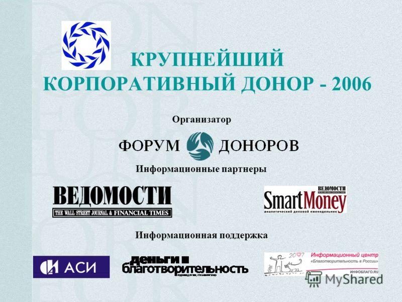 КРУПНЕЙШИЙ КОРПОРАТИВНЫЙ ДОНОР - 2006 Организатор Информационные партнеры Информационная поддержка