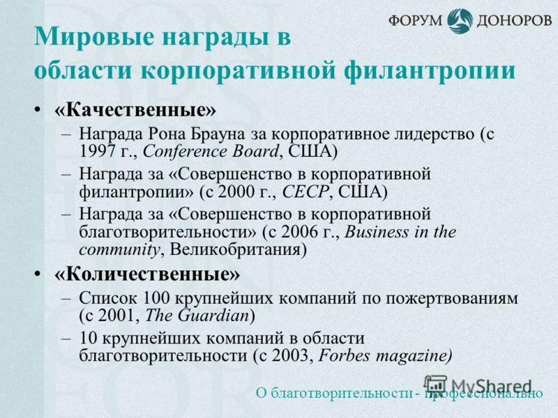 О благотворительности - профессионально Мировые награды в области корпоративной филантропии «Качественные» –Награда Рона Брауна за корпоративное лидерство (с 1997 г., Conference Board, США) –Награда за «Совершенство в корпоративной филантропии» (с 20