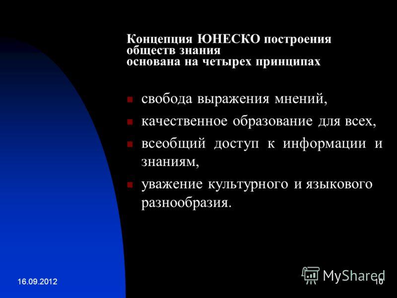 16.09.201210 Концепция ЮНЕСКО построения обществ знания основана на четырех принципах свобода выражения мнений, качественное образование для всех, всеобщий доступ к информации и знаниям, уважение культурного и языкового разнообразия.