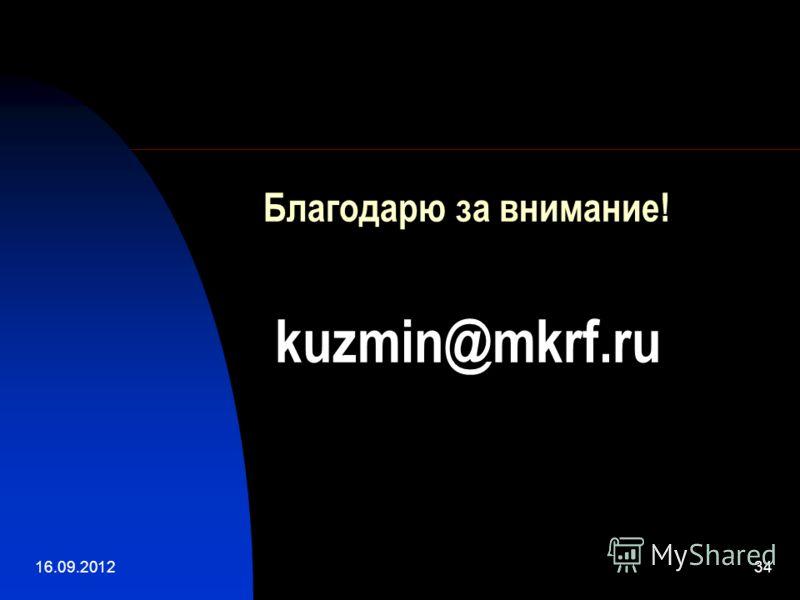 16.09.201234 Благодарю за внимание! kuzmin@mkrf.ru