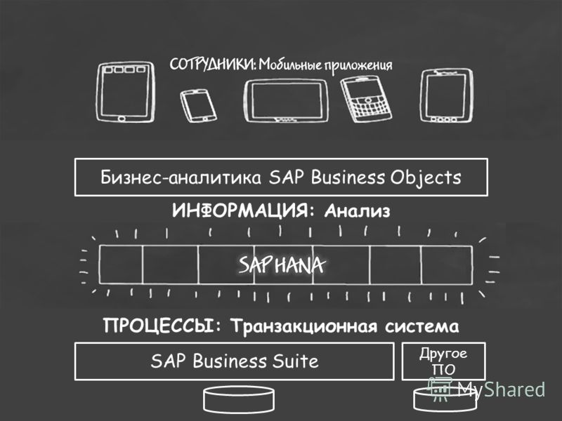 ПРОЦЕССЫ: Транзакционная система Бизнес-аналитика SAP Business Objects ИНФОРМАЦИЯ: Анализ SAP Business Suite Другое ПО