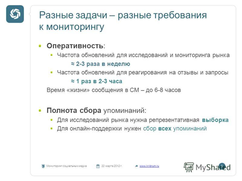 Разные задачи – разные требования к мониторингу Мониторинг социальных медиа22 марта 2012 г.www.kribrum.ru5 Оперативность: Частота обновлений для исследований и мониторинга рынка 2-3 раза в неделю Частота обновлений для реагирования на отзывы и запрос