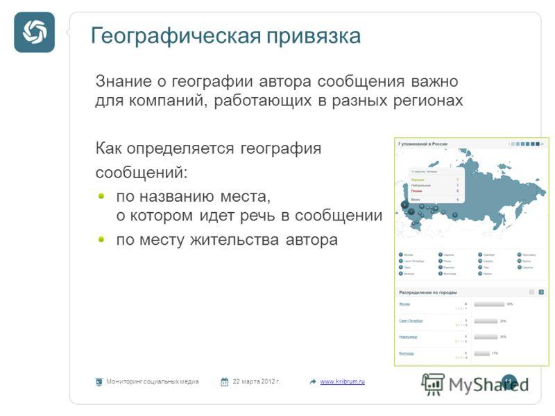 Географическая привязка Мониторинг социальных медиа22 марта 2012 г.www.kribrum.ru11 Знание о географии автора сообщения важно для компаний, работающих в разных регионах Как определяется география сообщений: по названию места, о котором идет речь в со
