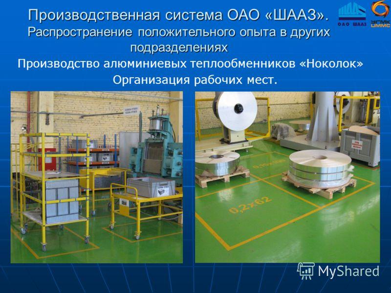 Производственная система ОАО «ШААЗ». Распространение положительного опыта в других подразделениях Производство алюминиевых теплообменников «Ноколок» Организация рабочих мест.
